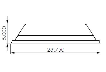 Recessed UV Disinfection Light Width Dimensions